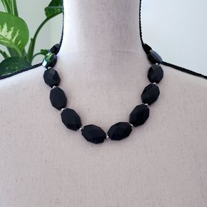Black Onyx Natural Stone Sterling Silver Necklace